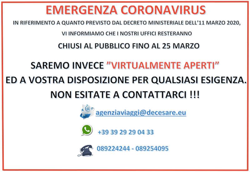 emergenza coronavirus decesare viaggi salerno
